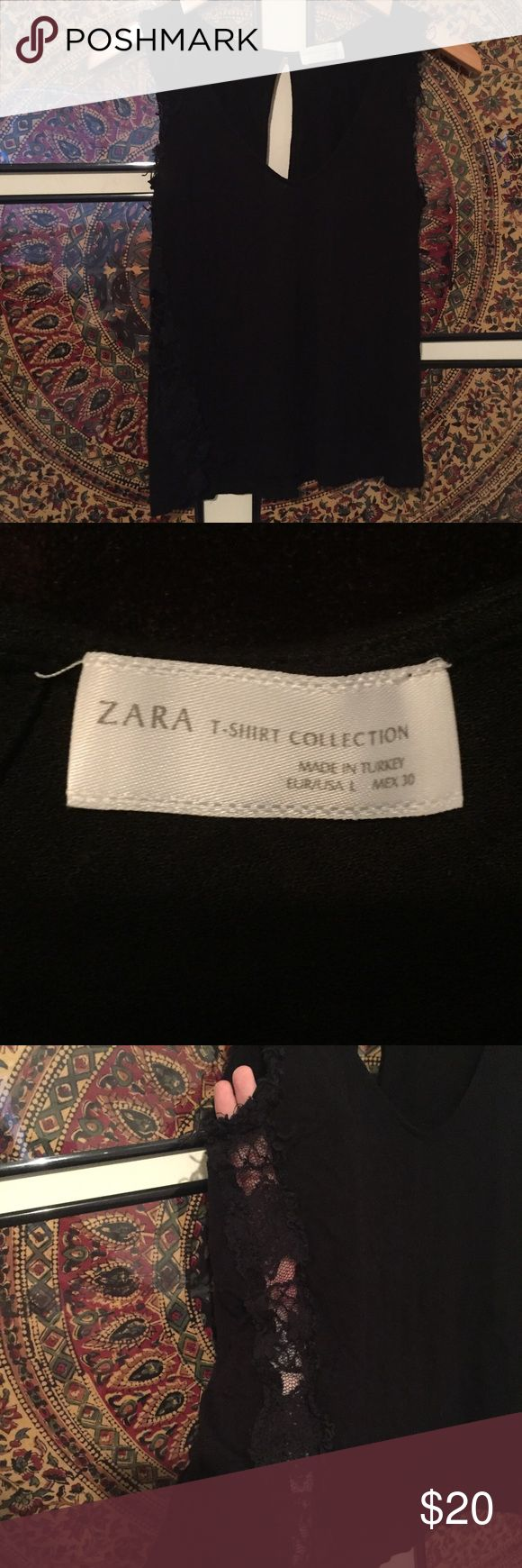 Zara Black Tank with Lace Sides Zara Tshirt Collection black tank with keyhole back, Lace sides, & trim around tank arm openings. Size large. Zara Tops Tank Tops