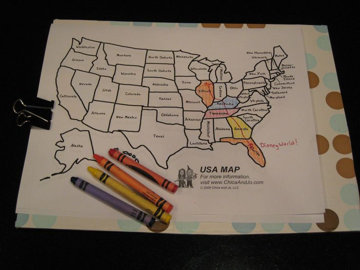 travel games USA map...color the state as you enter or exit as you are on your road trip...maybe draw on the map your route you are taking before giving it to the child
