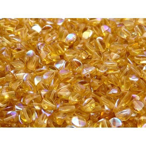 50pcs Czech Glass Pinch Beads 5x3.5mm Topaz AB