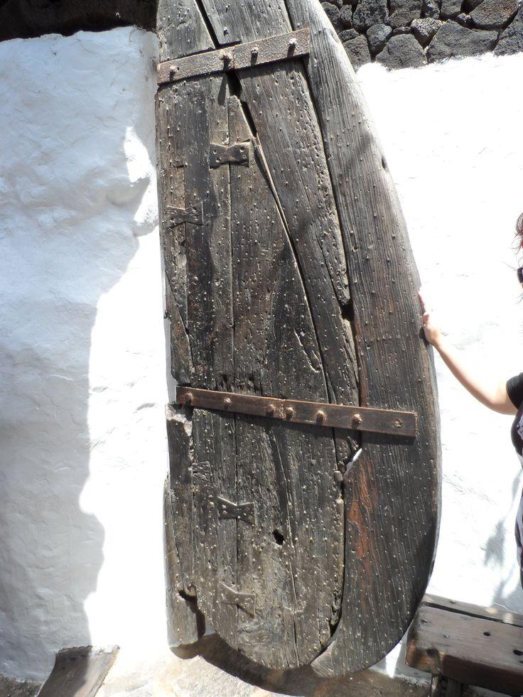 Wooden door, Jameos del Agua, by Cesar Manrique, Lanzarote