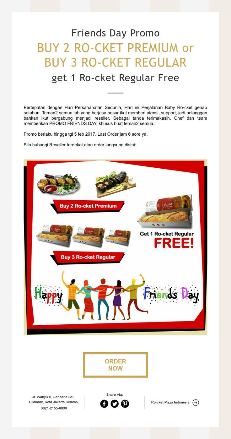 RO-CKET PIZZA Friends Day Promo Extend until 5 feb 2017