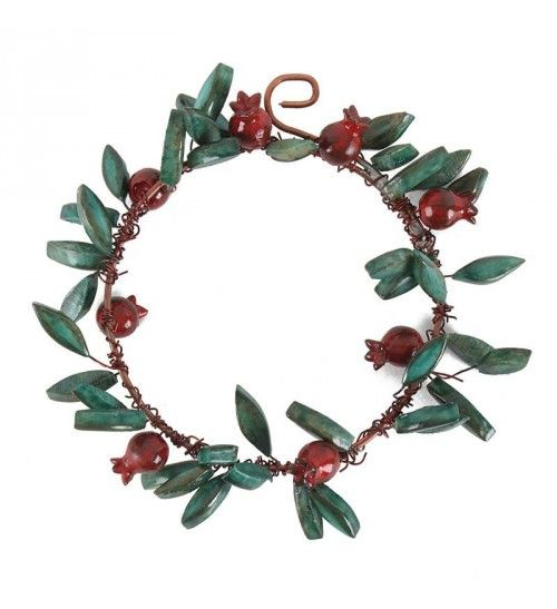 METAL WREATH W_CERAMIC POMEGRANATES AND LEAVES D-16