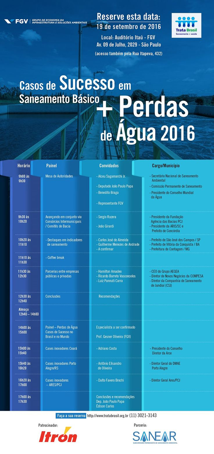 """Estão abertas as inscrições para o evento """"Casos de Sucesso em Saneamento Básico + Perdas de Água 2016"""" organizado pelo Instituto Trata Brasil, a Subcomissão Permanente de Saneamento Ambiental da Câmara dos Deputados (SANEAR) e o Grupo de Economia da Infraestrutura & Soluções Ambientais da FGV. Inscreva-se: http://www.tratabrasil.org.br/casos-e-perdas Data: 22/09/2016 Horário: Das 09h às 17h30 Local: Auditório da FGV-ITAÚ - Avenida 09 de Julho, 2029 (acesso também pela Rua Itapeva, 432) – SP"""