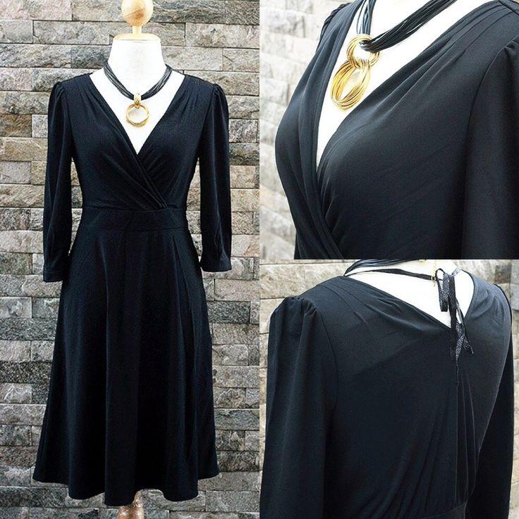 LS101 : M เดรสเกาหลี ผ้าเทโร สีดำ คอวี แขน4ส่วน ซิปข้าง  www.ladyseoulshop.com