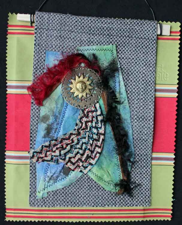 Combining Found objects on fabric makes for quick and effective collages