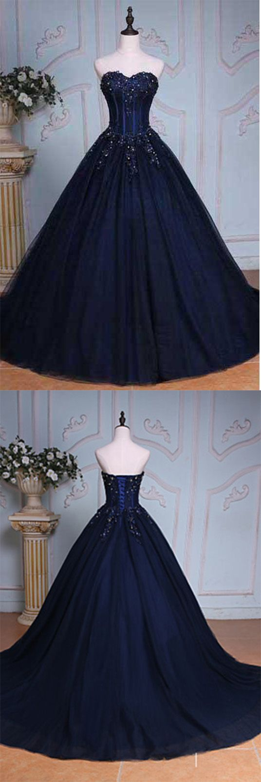 Navy Blue Evening Gown with beading and train.