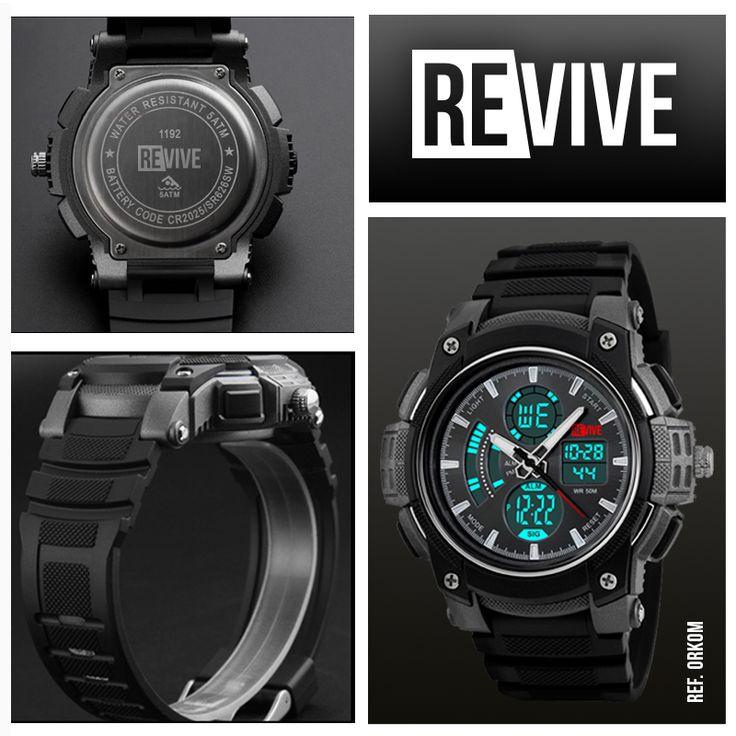 Reloj Orkom Negro. Cronómetro integrado, configuración de fecha y hora digital/análogo, a prueba de agua (sumergible hasta 50 Metros). #relojhombre #reloj #colombia #watches #Revive