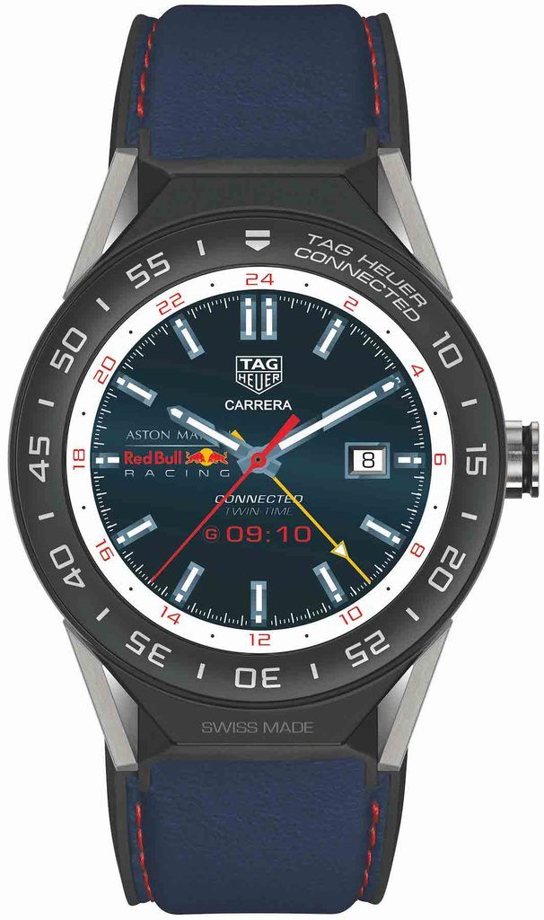 450878fde16 TAG Heuer Watch Connected Modular 45 Smartwatch Aston Martin Red Bull  Racing Special  add-content  basel-18  bezel-fixed  bracelet-strap-leather  ...