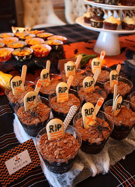 """easy and cute - RIP graveyard """"dirt putting"""" cups for a Halloween party"""