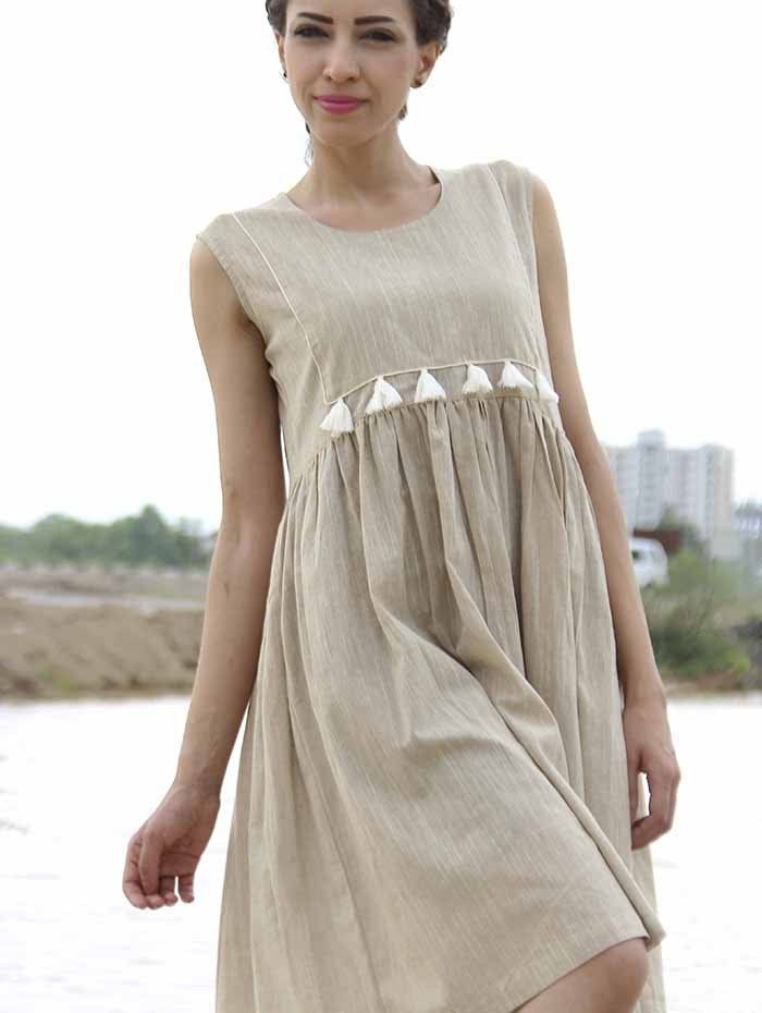 Brown Khadi Cotton Tassel Dress