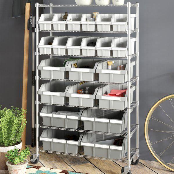 Wfx Utility Heyward Commercial 7 Shelf Bin Rack Storage System Reviews Wayfair Shelf Bins Bin Rack Storage System
