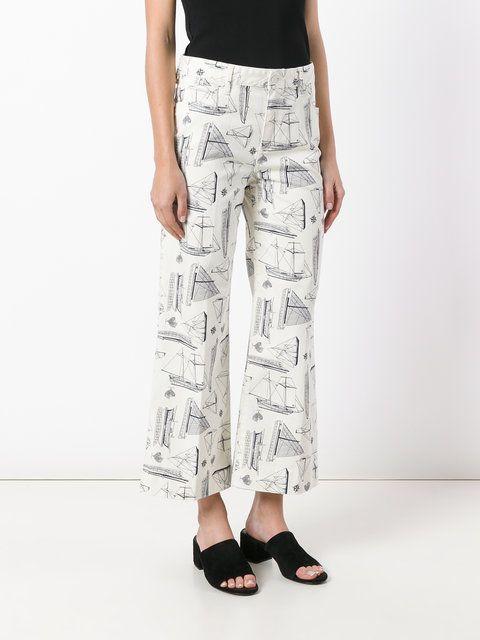 Tory Burch nautical print trousers