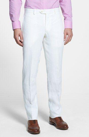 Flat Front Slim Leg Linen Trousers (Mens) | Nordstrom | Diner en Blanc