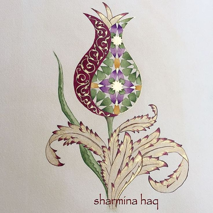 "806 Beğenme, 60 Yorum - Instagram'da Sharmina Haq (@sharmina.haq): ""Spring tulip Shaded in shell gold, burnished then more shading applied with Kuretaki Gansai…"""