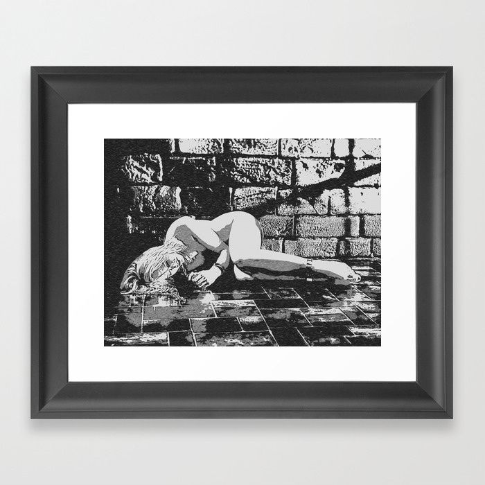 Dark Dungeon, sexy blonde slave girl nude, submissive woman naked in cellar Framed fine art print on natural white, matte, ultra smooth, 100% cotton rag, acid and lignin free archival paper using an advanced digital dry ink method to ensure vibrant image quality. #society6 #framed #art #prints