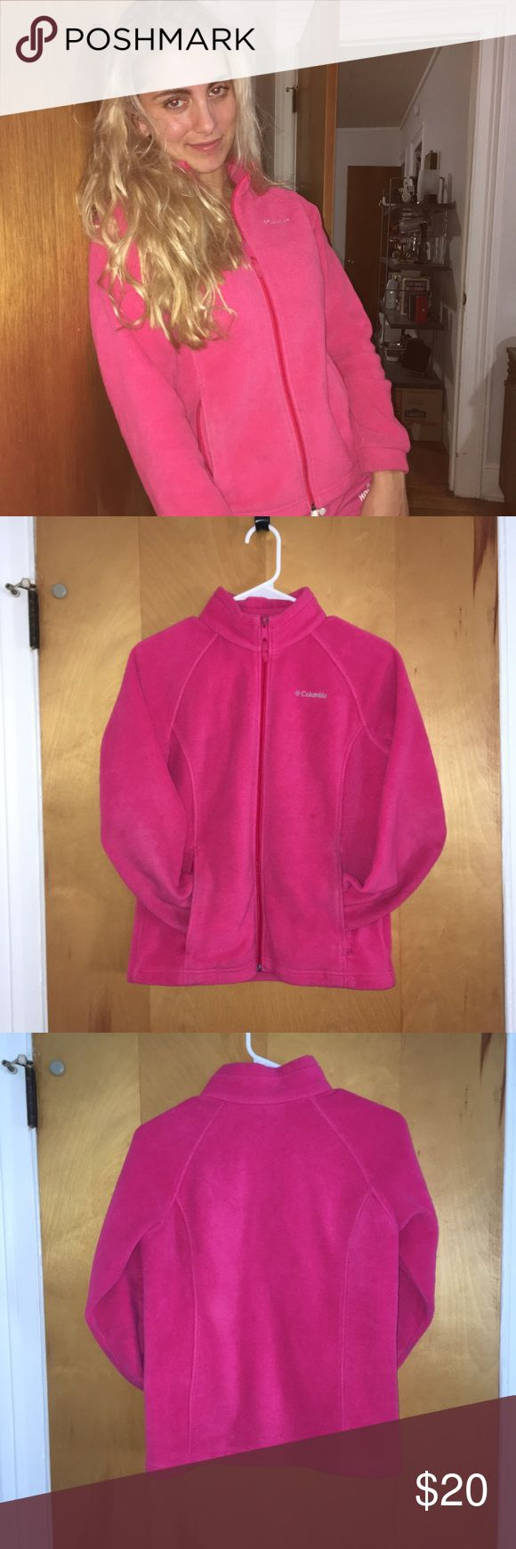 Columbia Pink fleece zip up! 💕 Good condition, very warm and flattering, only issues are a little chipped paint on zipper and writing on the inside name patch. Not noticeable when you're wearing it. Nice color! Kids Large fits like a Small on women Columbia Jackets & Coats