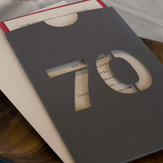 70th Celebration Image #3 : The two-layer Kraft and Red invitation slides into a custom-cut charcoal gray sleeve.