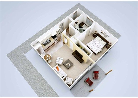 1 bedroom granny flat addition ideas pinterest flats for Garage with granny flat on top