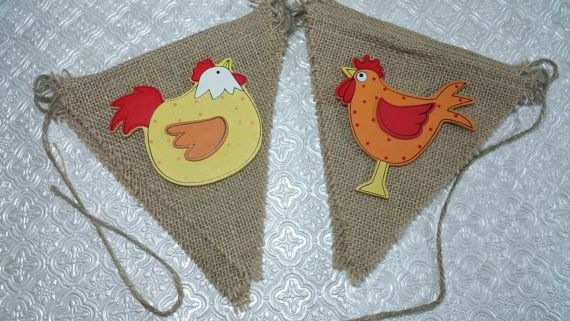 Listing is for chicken/hen themed burlap garland banner with wood cut out images layered on burlap panels. Monkey not shown n pic, but it will be included. Image only banner will come with 10 pennants at approx. 10 ft. long. If you would like an additional text banner or combination , send me a message. Contact me for any special color scheme or images. Please check out my matching goody favor bags, confetti, cupcake toppers, and centerpiece toppers on sticks. ***PLEASE NOTE----Kind...