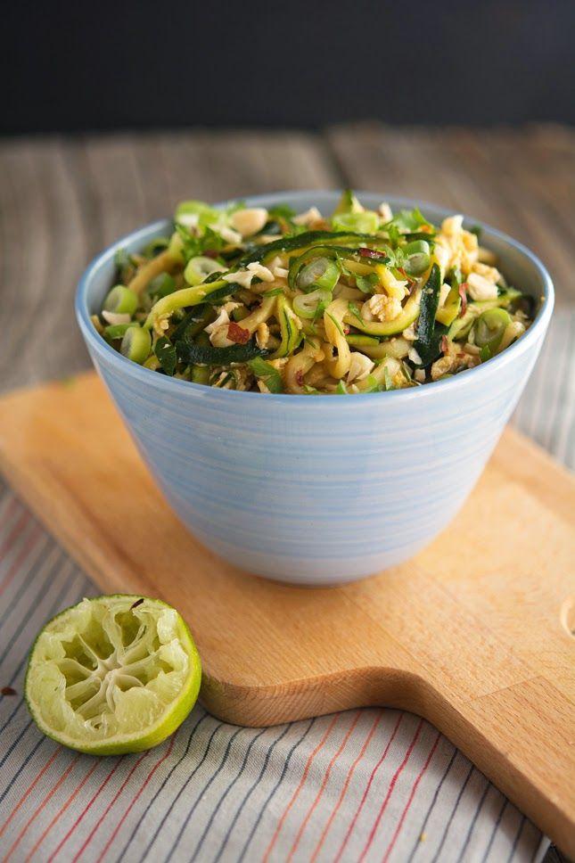 Easy Pad Thai Recipe - Zucchini, EVOO, Garlic, Eggs, Soy Sauce, Lime, Fish Sauce, Red Pepper Flakes, Cilantro, Scallions, Cashews.