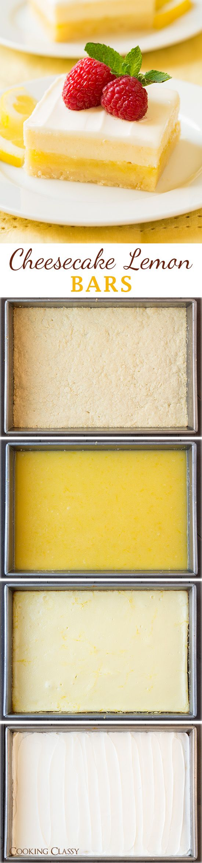 Cheesecake Lemon Bars - a PERFECT spring dessert! Love the combo of tart lemon bars and sweet cheesecake!
