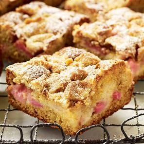 Delicious Magazine's Rhubarb, vanilla and soured cream crumb cake looks fab!