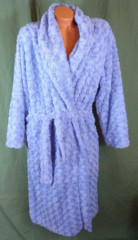 Pastunette Deluxe Medium Blue Floral Fleece Plush Dressing Gown Robe Lined Soft #Pastunette #Robes #Everyday