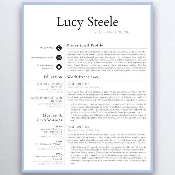 Nurse Resume Template 5 Pages Nursing Resume Template Etsy Nursing Resume Template Medical Resume Resume Template Etsy