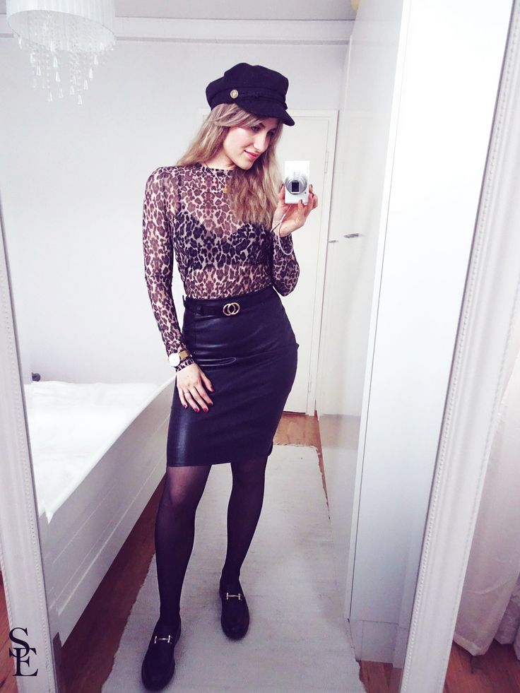 sandraemilia, outfit, leopard, black, gold, leather, leather, skirt