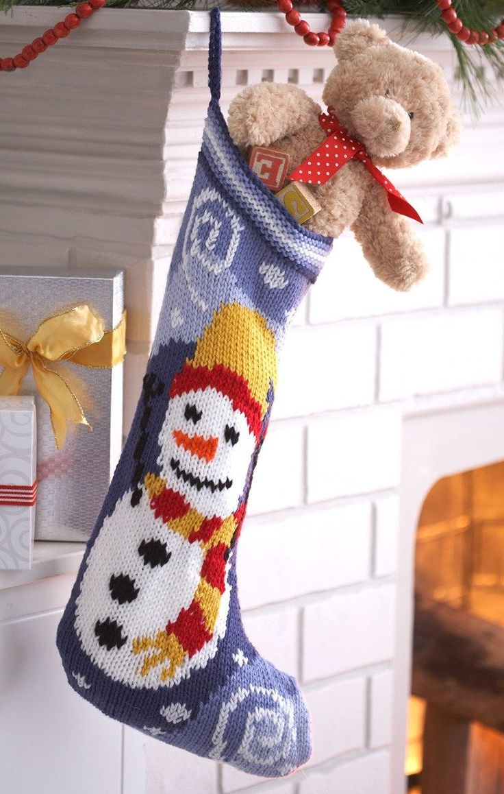 143 best christmas stockings images on pinterest hat hooks and noel free knitting pattern for snowman stocking knitted christmas bankloansurffo Choice Image