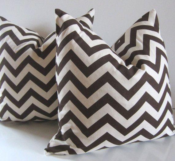 Chocolate brown chevron pillows