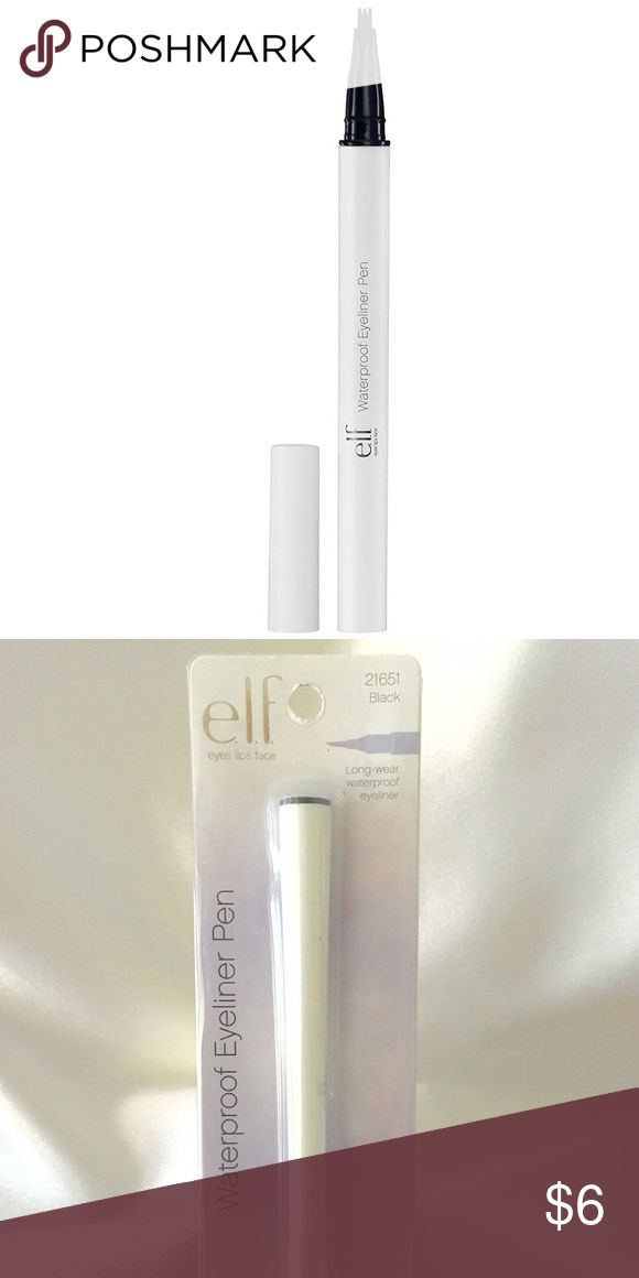 e.l.f. Waterproof Eyeliner Pen, Black, 0.06 Ounce This smudge-free, budge-free waterproof eyeliner pen lasts for hours for a fabulous and fresh look of precision. Try a dramatic look by extending the line for a winged eyeliner effect.                                         Features Smudge-free Budge-free Waterproof ELF Makeup Eyeliner