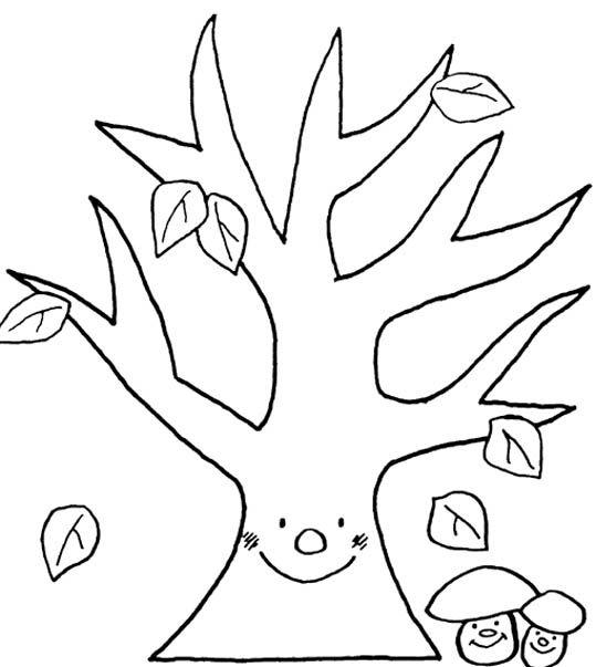 mal voor een boom om gevonden herfstblaadjes op te plakken