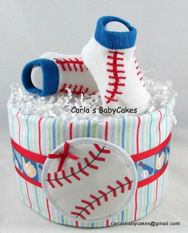Baseball Diaper Cake  Sports Diaper Cake  Boy by MsCarlasBabyCakes