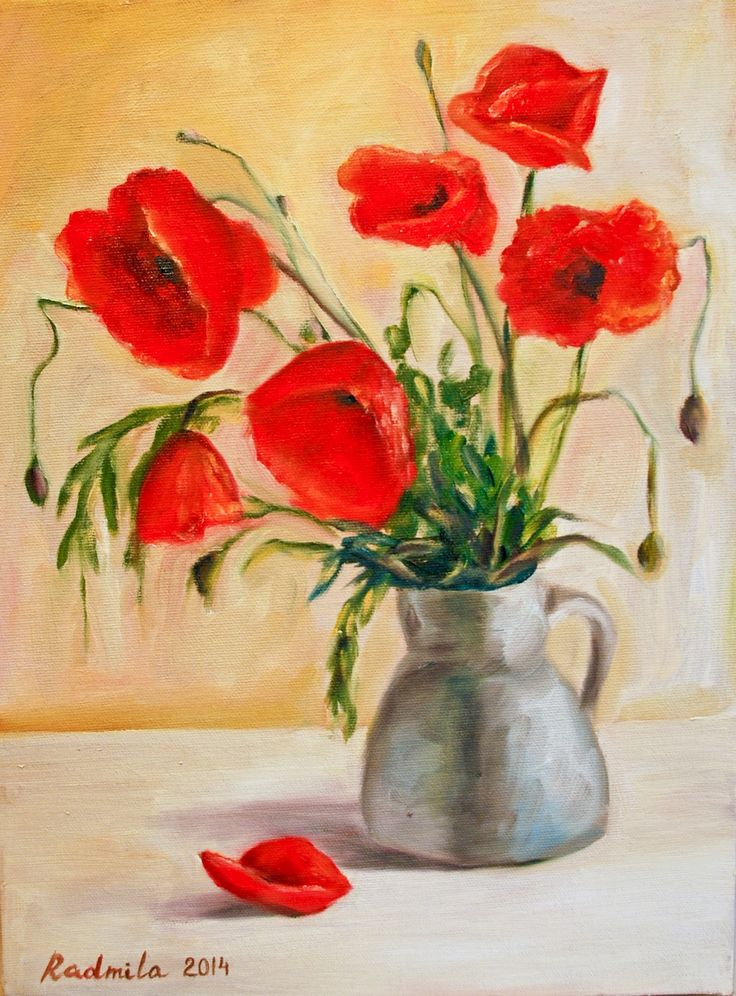 Oil painting with red poppies 30*40 cm. Artist - Radmila Filimonova