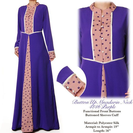 Purple Mandarin Neck Islamic Summer Abaya Long by MissMode21