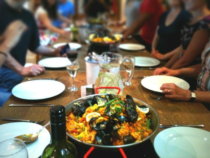 Seafood Paella Valenciana time at Food at 52 cookery school London