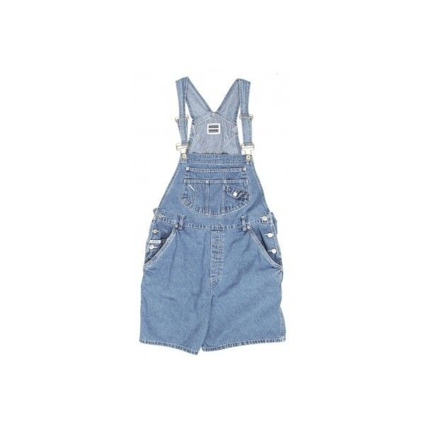 Mid Blue Denim Short Dungarees W37 ❤ liked on Polyvore featuring overalls, shorts, dresses y bottoms