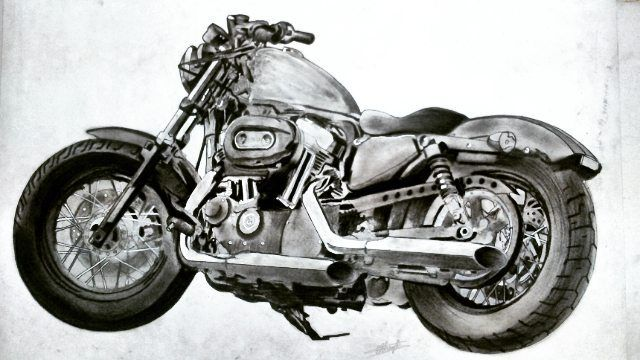 HERLEY DAVIDSON CHARCOAL SKETCH BY Swanand Bhagat(INKLLUSION TATTOO STUDIO)