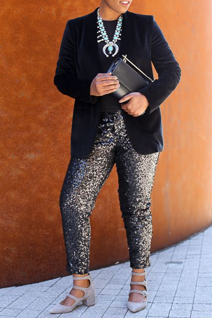 What to Wear to your Office Holiday Party   Velvet Blazer + Turquoise Squash Blossom necklace + Sequin pants