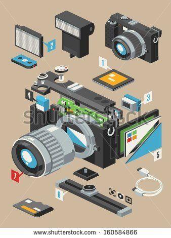 exploding camera,vector insides of a camera by filip robert, via Shutterstock