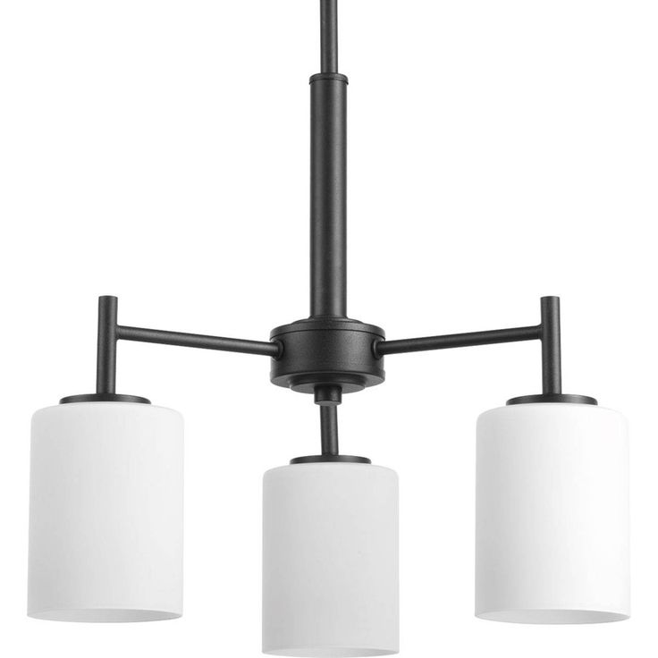 Progress Lighting Replay 17-in 3-Light Black Etched Glass Shaded Chandelier