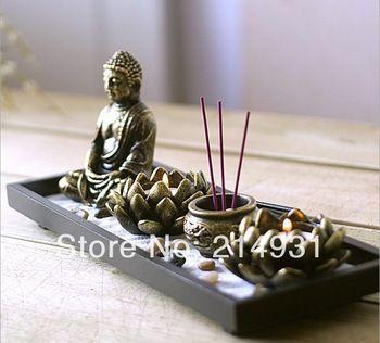 Chinese Zen Garden Buddha Sand Table Incense Burner Lotus Tea light Candle Holder Orient Feng Shui Candle Set Home Decor