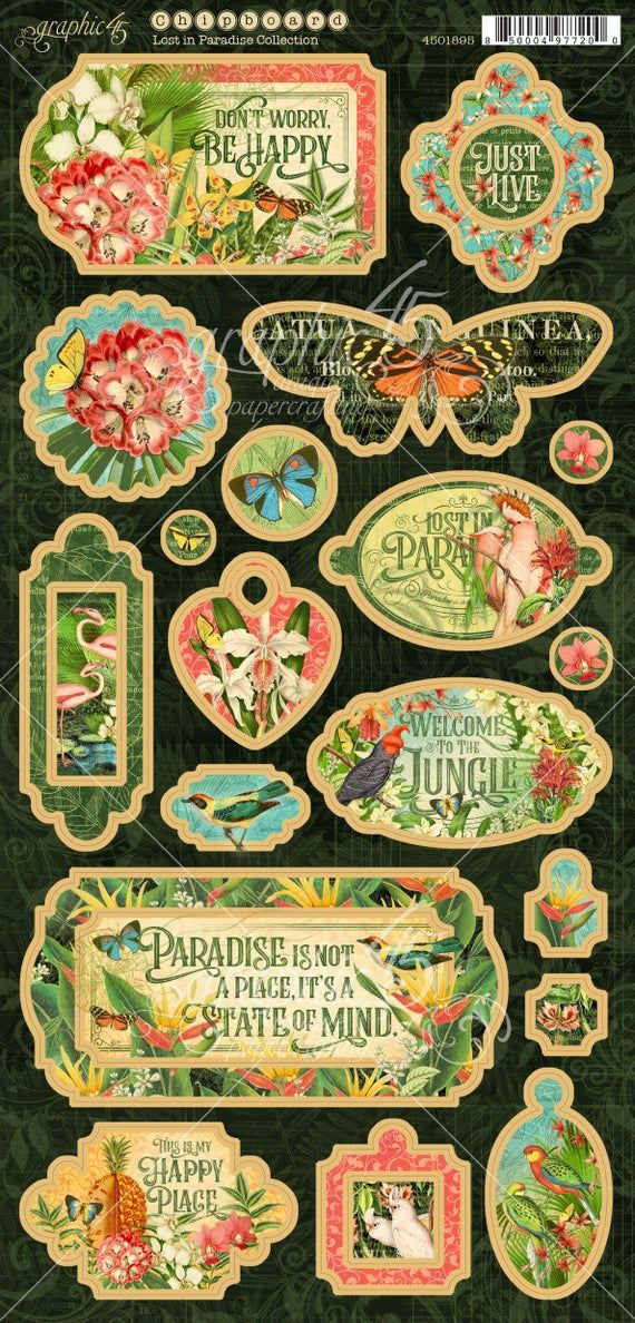 NEW  Graphic 45 Chipboard Die-Cut Lost in Paradise