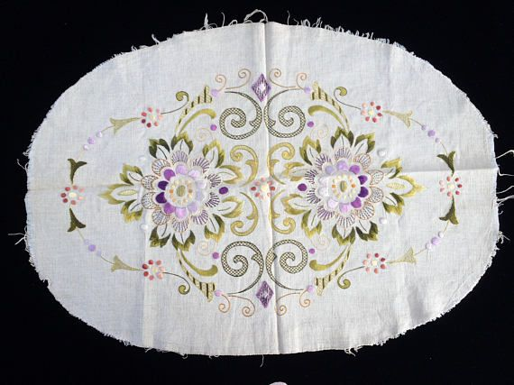 Eastern European Vintage Silk Embroidered Raw Linen Doily. Oval Embroidered Table Topper. Unfinished Edge Raw Linen and Silk Doily RBT1877