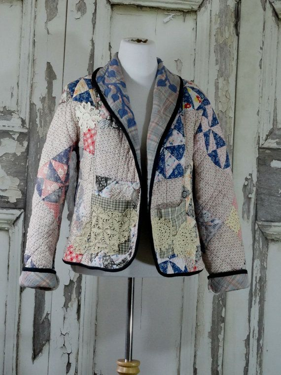 Jacket from Vintage Quilt Women's Quilted Blazer Jacket with Doily Appliques Upcycled Clothing Eco Fashion Junk Gypsy