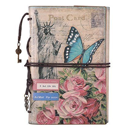 Leather Journal Notebook, MALEDEN Spiral Bound Daily Notepad For #Women Men Traveler Notebook Sketchbook Antique Diary Refillable Planner with Unlined Paper and Zipper Pocket (A6, Flowers)