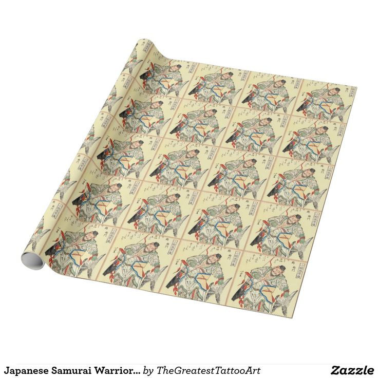 Japanese Samurai Warrior sketch tattoo Hokusai Wrapping Paper