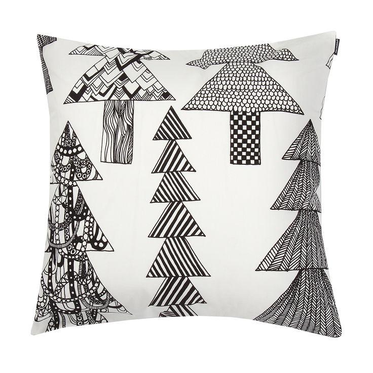 Marimekko Kuusikossa White / Black Throw Pillow