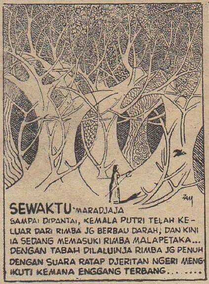 a panel from Zam Nuldyn's SRI PUTIH TJERMIN, published in 1950s